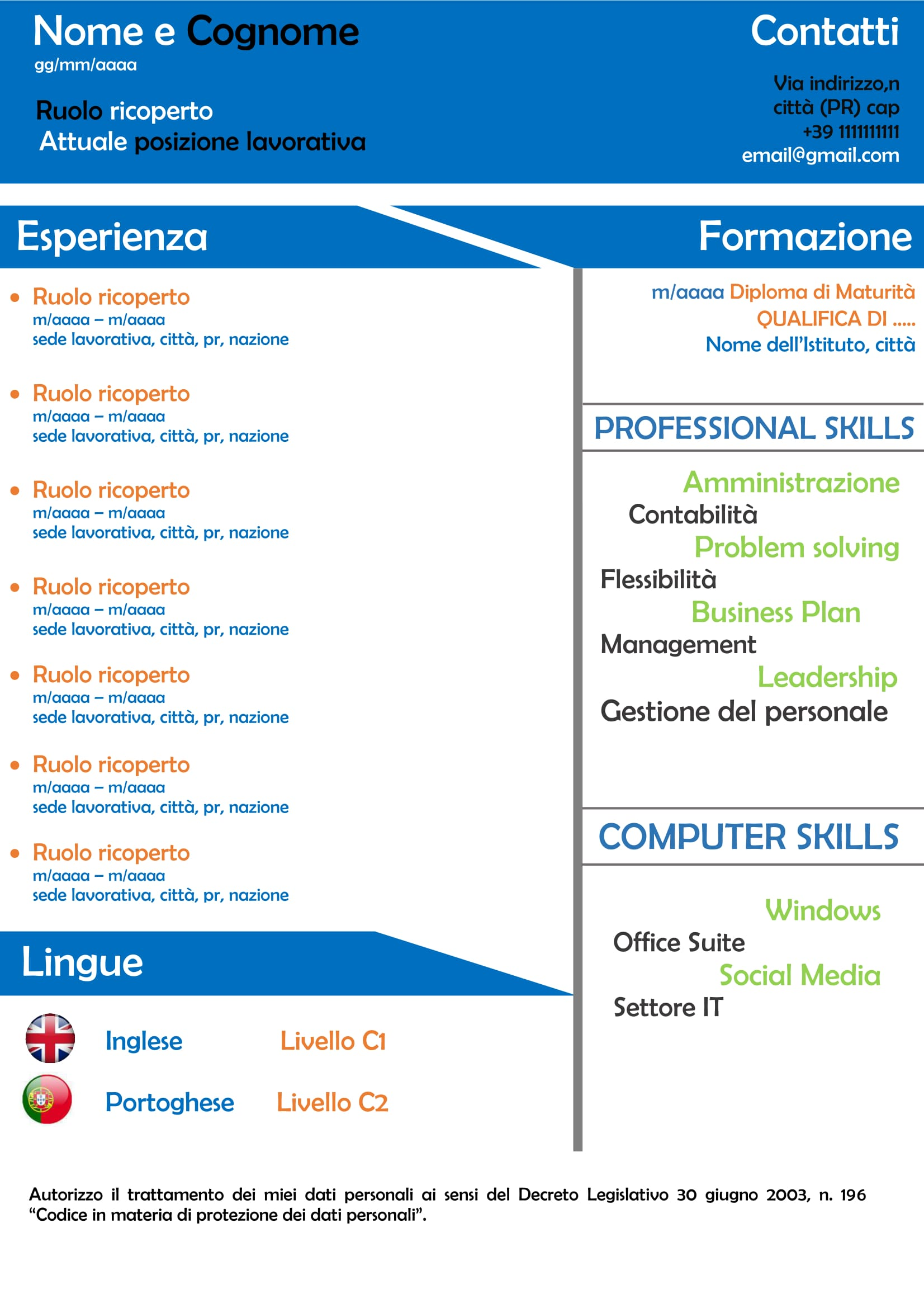 curriculum grafico socialjobs